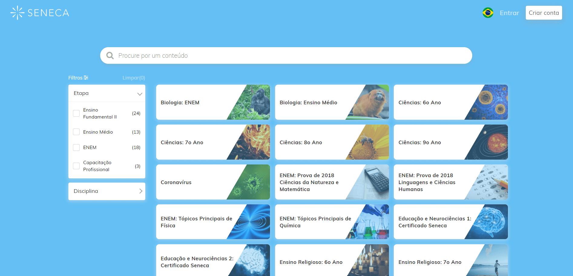 Lista de conteúdos e atividades grátis oferecidas pela plataforma online Seneca gratuitamente, cobrindo Ensino Fundamental, Ensino Médio e ENEM, seguindo a nova BNCC